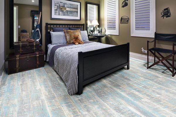 Пробковый пол Corkstyle Wood XL Color Lazurite Blue в интерьере