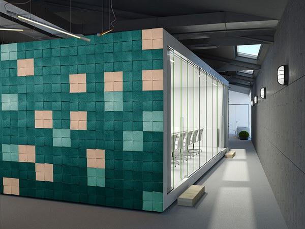 Пробковые 3D блоки в интерьере