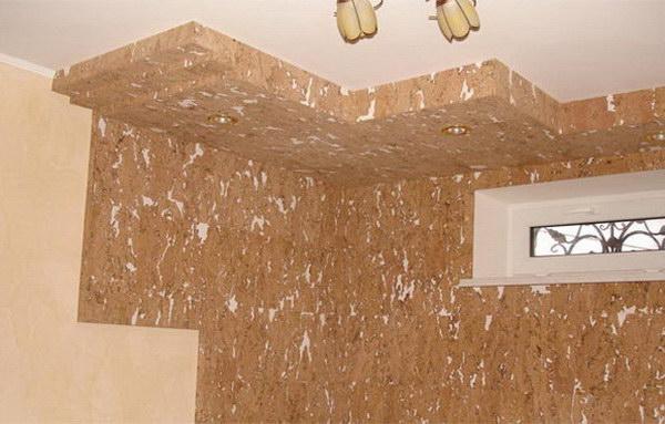 Пробковые пластины для потолка в интерьере